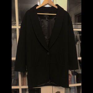 H&M Black Wool Blend Winter Coat